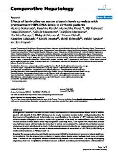 Effects of lamivudine on serum albumin levels correlate with ...