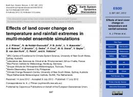 Effects of land cover change on temperature and ... - Semantic Scholar