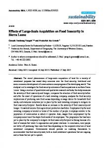Effects of Large-Scale Acquisition on Food Insecurity in Sierra ... - MDPI