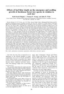 Effects of leaf litter depth on the emergence and seedling growth of ...
