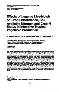Effects of Legume Live-Mulch on Crop Performance, Soil Available