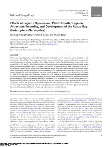 Effects of Legume Species and Plant Growth Stage on ...