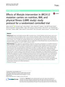 Effects of lifestyle intervention in BRCA1/2 mutation ...