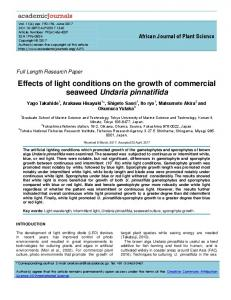 Effects of light conditions on the growth of ... - Academic Journals