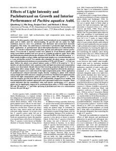 Effects of Light Intensity and Paclobutrazol on Growth ... - HortScience