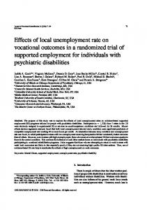 Effects of local unemployment rate on vocational outcomes in a ...