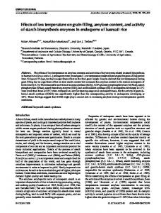 Effects of low temperature on grain filling, amylose content ... - CiteSeerX