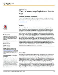 Effects of Macrophage Depletion on Sleep in Mice