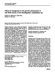 Effects of manganese on the growth, photosystem II ... - Springer Link