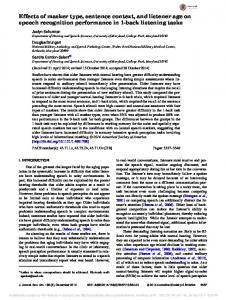 Effects of masker type, sentence context, and ... - Semantic Scholar