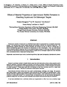 Effects of Material Properties on Laser-induced Bubble Formation in ...