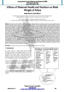 Effects of Maternal Health and Nutrition on Birth ... - Semantic Scholar