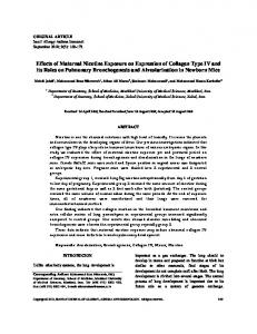 Effects of Maternal Nicotine Exposure on Expression of Collagen Type ...