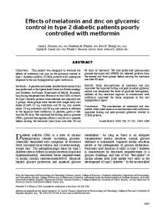 Effects of melatonin and zinc on glycemic control in type 2 diabetic ...
