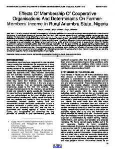 Effects Of Membership Of Cooperative Organisations And ...