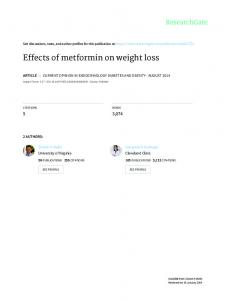 Effects of metformin on weight loss