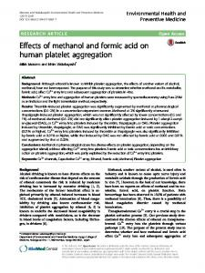 Effects of methanol and formic acid on human platelet aggregation