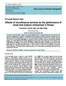 Effects of microfinance services on the performance of small and ...