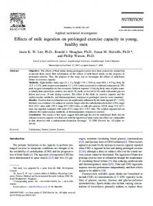Effects of milk ingestion on prolonged exercise capacity in young ...