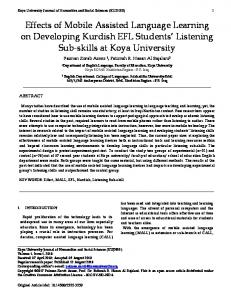 Effects of Mobile Assisted Language Learning on