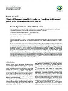 Effects of Moderate Aerobic Exercise on Cognitive Abilities and Redox ...