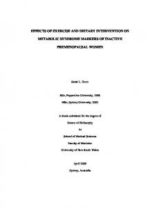 effects of moderate endurance exercise training on ...