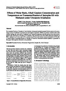 Effects of Molar Ratio, Alkali Catalyst Concentration and Temperature ...