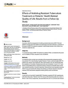 Effects of Multidrug Resistant Tuberculosis Treatment on Patients ...