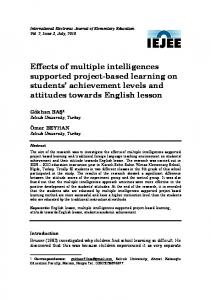 Effects of multiple intelligences supported project-based learning - ERIC