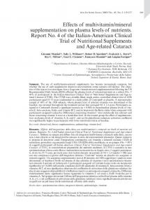 Effects of multivitamin/mineral supplementation on ...