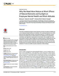 Effects of Natural Elements and Sunlight on Employee Mental Health ...