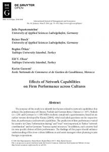 Effects of Network Capabilities on Firm Performance across ... - Sciendo