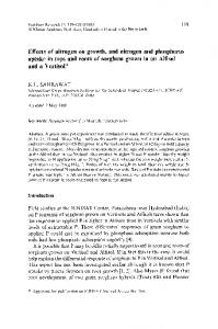 Effects of nitrogen on growth, and nitrogen and ... - Springer Link