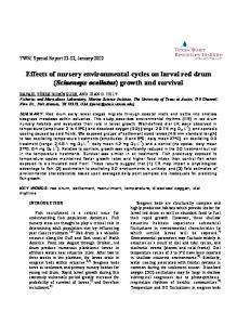 Effects of nursery environmental cycles on larval red drum (Sciaenops ...
