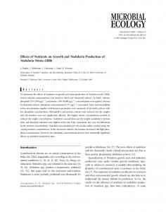 Effects of Nutrients on Growth and Nodularin ... - Springer Link