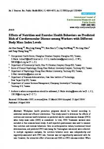 Effects of Nutrition and Exercise Health Behaviors on Predicted ... - MDPI
