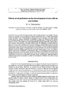 Effects of oil pollution on the development of sex cells in sea urchins