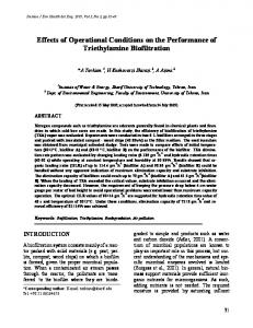 Effects of Operational Conditions on the Performance of Triethylamine ...