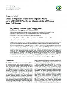 Effects of Organic Solvents for Composite Active Layer of PCDTBT ...