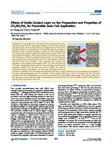 Effects of Oxide Contact Layer on the Preparation ... - ACS Publications