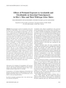 Effects of Perinatal Exposure to Acrylamide and Glycidamide on ...