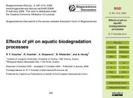 Effects of pH on aquatic biodegradation processes - Biogeosciences
