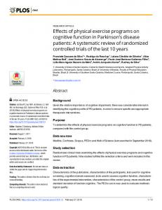 Effects of physical exercise programs on cognitive function in ... - PLOS