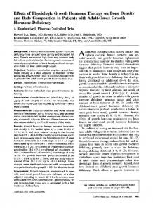 Effects of Physiologic Growth Hormone Therapy on ...
