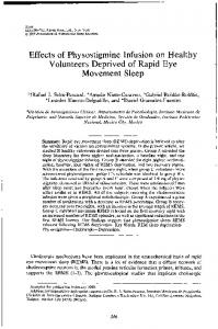 Effects of Physostigmine Infusion on Healthy Volunteers Deprived of ...