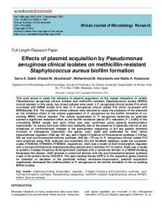 Effects of plasmid acquisition by Pseudomonas ...