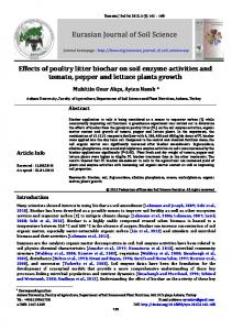 Effects of poultry litter biochar on soil enzyme activities ... - DergiPark