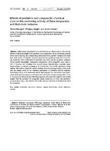 Effects of predators and conspecific chemical cues on the swimming ...