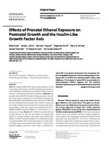 Effects of Prenatal Ethanol Exposure on Postnatal Growth and the ...