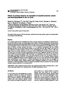 Effects of prenatal hypoxia on expression of amyloid precursor protein ...